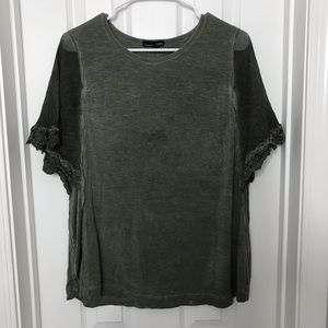 RXB Army Green Flowy Lace Sleeve Shirt - PERFECT